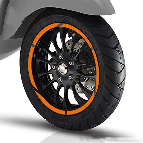 12 Tiras para Vespa 946 GTS250 300 Sprit Primavera 150 LX125 Etiqueta de Rueda de la Motocicleta Pegatina Reflectante Rim Adecuada AREDEDOR Pegatinas para Moto (Color : Silver)