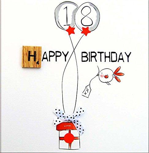 BEXYBOO Glückwunschkarte zum 18. Geburtstag veredelt mit einem original Scrabble-Stein aus Holz. Eine hochwertige und originelle Geburtstagskarte auch für Geschenkgutschein oder Geldgeschenk. BX053