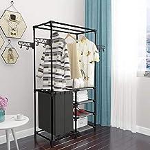 Kapstok van staal voor kleding en schoenen, entree garderobe met schoenenrek, tassen en haken, 158 x 87 x 44 cm