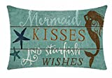 Bnitoam Mermaid Kisses and Starfish Wishes Cotton Linen Throw Pillow Covers Case Cushion Cover Sofa Decorative Square 12 x 20 inch (3)
