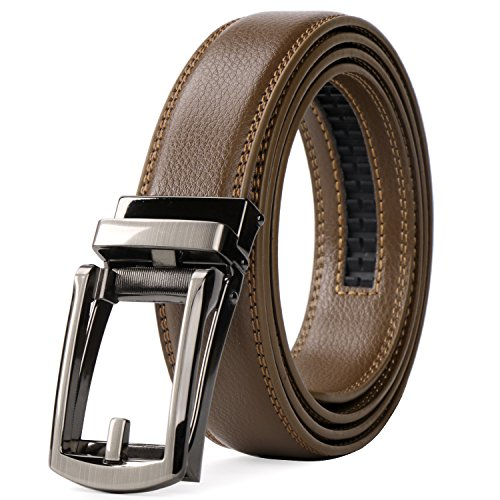 WERFORU Leather Ratchet Dress Belt for Men Perfect Fit Waist Size Up to 50 Inches with Automatic Buckle,04Style 1-Brown,Suit Pant Size 30-44 Inches