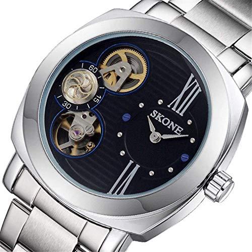 YXZQ Herrenmode Uhr halbautomatische mechanische Legierung Armband wasserdichte Uhr, schwarz