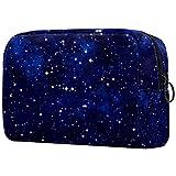 Neceser portátil, ligero, clásico, bolsa de cosméticos de viaje y bolsa de maquillaje, kit de artículos de tocador, organizador con cremallera azul cielo nocturno