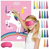 FEPITO juegos de unicornio, en el cuerno fijo en los juegos unicornio fiesta de cumpleaños, decoración del partido del cuerno del unicornio para proporcionar 24 fuentes de los niños unicornio (rosa)