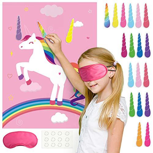 FEPITO Eenhoorn Party Game, Pin de hoorn op de eenhoorn verjaardagsfeestje spel met 24 hoorns voor Unicorn Party Decoraties, Kids Unicorn verjaardagsfeestartikelen (roze)