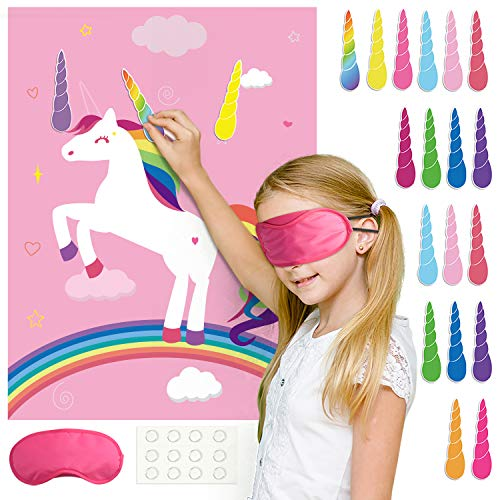 FEPITO Unicorn Party Game, Pin The Horn on The Unicorn Birthday Party Game with 24 Horns for Unicorn Party Decorations, Kids Unicorn Birthday Party Supplies (Pink)