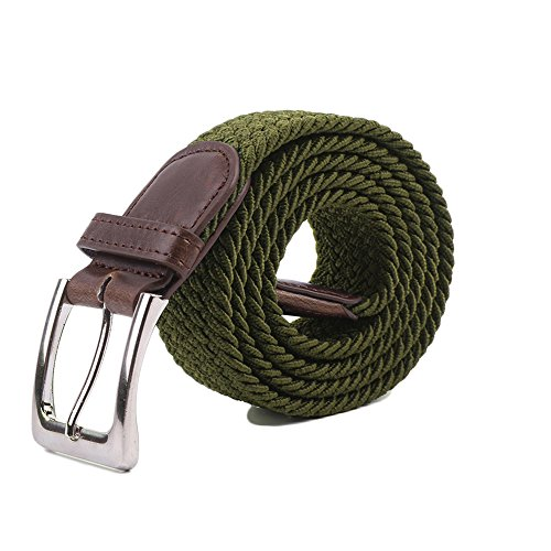 Canvas Elastic Fabric Woven Stretch Multicolored Braided Belts 2041-OLIVE-M