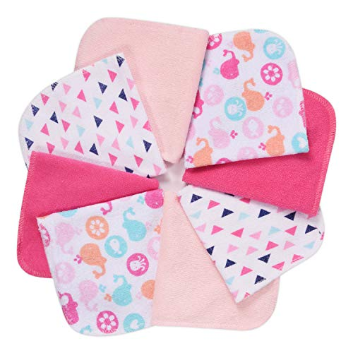 Baby Washcloths, Momcozy Ultra Soft Absorbent Towel, 8pcs Newborn Bath Face Towel, Natural Reusable Baby Wipes for Sensitive Skin, Baby Registry as Shower, 10'x10' (Pink)