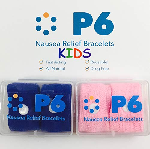 P6 Health Original Natural Anti-Nausea Relief Motion Car Sea Sickness Children's Wrist Bands for Kids 2 Pack Pink and Royal Blue