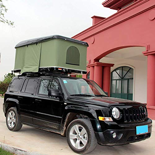 Automotive Rooftop Tent Outdoor Camping Car Roof Tent Hard Shell for 2-3 People, with Ladder, Green Tent + Black Shell