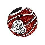 Abalorio de baloncesto de plata de ley 925, diseño de amor, color rojo