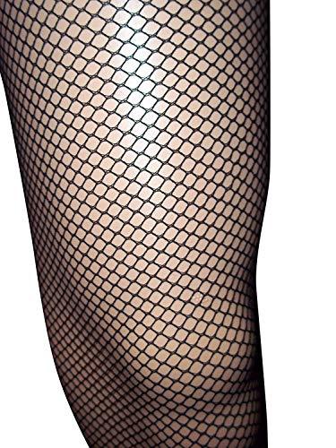 Emmas Wardrobe Schwarz Netzstrumpfhose Diamant-Netz-Leggings mit elastischer Taille - One Size Fits (Black) (2 Packung)