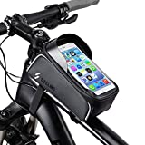 Dollcora Bike Bag, Waterproof Bicycle Front Frame Bag Top Tube Mount Handlebar Cell Phone Holder Touch Screen Storage Pouch Case Compatible with iPhone 11 XS Max XR Samsung S9 Below 6.5inch