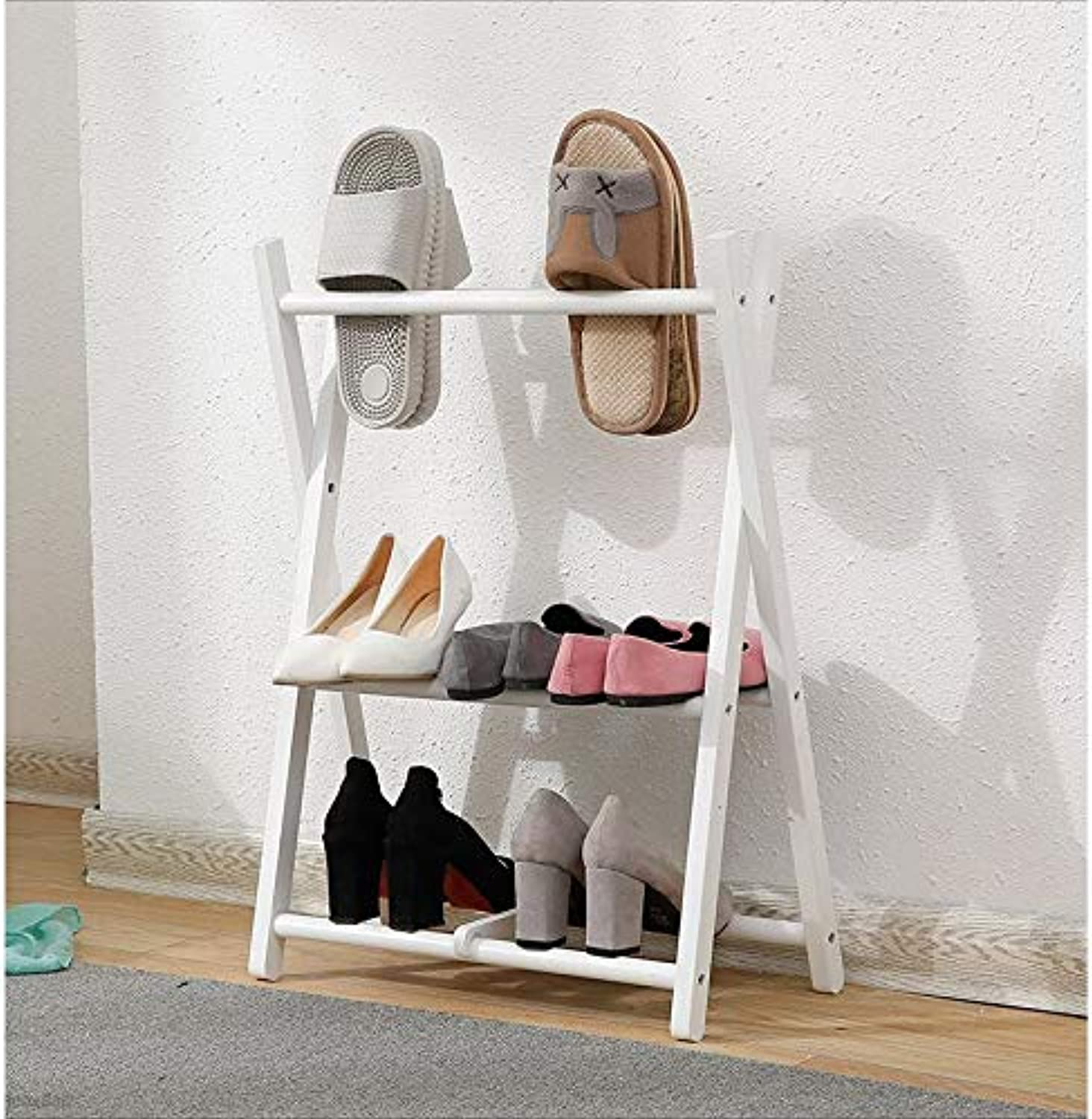 shoes rack Fold shoes Rack Solid Wood Multi-layer Doorway Dorm Room Living Room Slipper Frame Sturdy shoe rack (color   White)