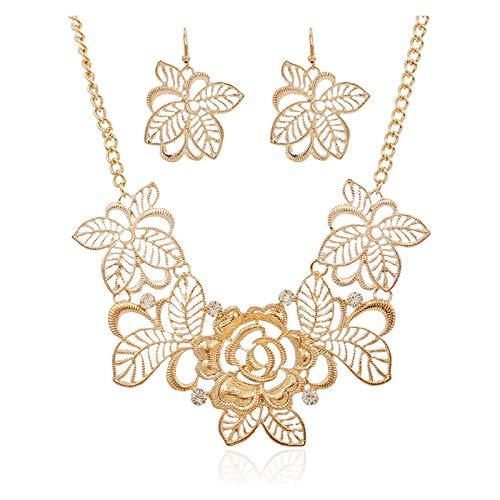 ZCPCS Set de joyería de Flores de Recorte en el Collar de Diamantes Earlajes Europa y América Cadena de Dinero Largo de la joyería de Alto Grado Artículos de Moda (Color : A)
