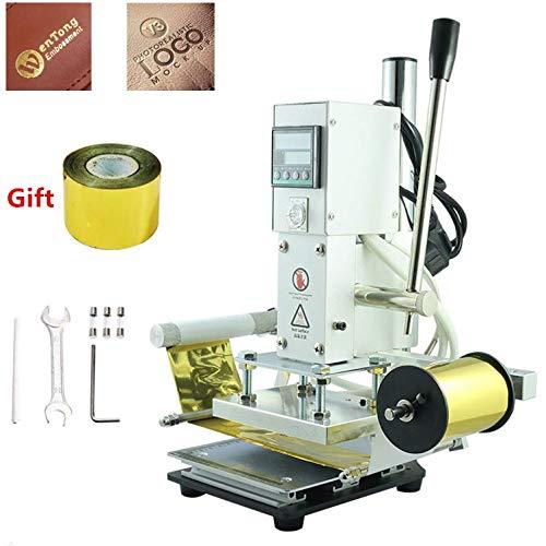 YUNSHINE 220V DIY digitale automatische Leder Heißfolie Stamping Maschine manuelle Prägung Werkzeug Rillen Holz Papier PVC Karte PressDrucker (Heiße Pressemapme:10x13cm)