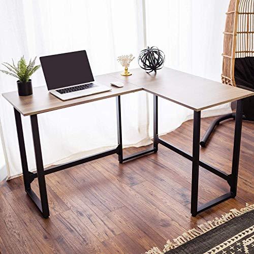 Viewee L-Förmiger Schreibtisch PC Tisch Bürotisch Gaming-Computertisch Ecktisch Home Office mit fester Kork-Fußstützenstruktur,für Büro, Wohnzimmer, Schlafzimmer, Braun Groß 128x100x74cm