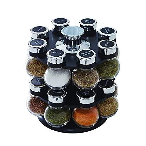 Kamenstein Ellington Revolving Tower with Free Spice Refills for 5 Years, 16-Jar, Clear