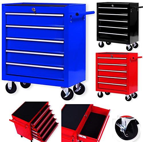 Masko® Werkstattwagen - 5 Schubladen, blau ✓ Abschließbar ✓ Massives Metall | Mobiler...
