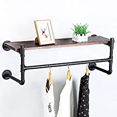 Industrial Pipe Clothing Rack Wall Mounted with Real Wood Shelf,Rustic Retail Garment Rack Display Rack Cloths Rack,Pipe Shelving Floating Shelves Wall Shelf,36in Steam Punk Commercial Clothes Racks #5