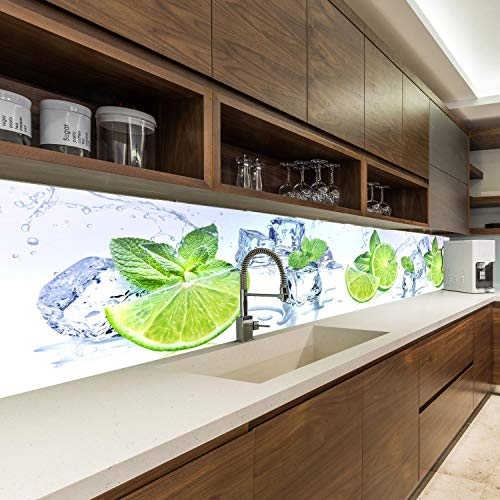 wandmotiv24 Küchenrückwand Limette EIS Pfefferminze Grün 260 x 50cm (B x H) - Acrylglas 4mm Nischenrückwand, Spritzschutz, Fliesenspiegel-Ersatz, Deko Küche M1103