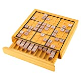 Hey! Play! 80-EC03 Wood Sudoku Complete Set Tiles, Wooden Board and Puzzle Book-Number Thinking Game for Adults and Kids