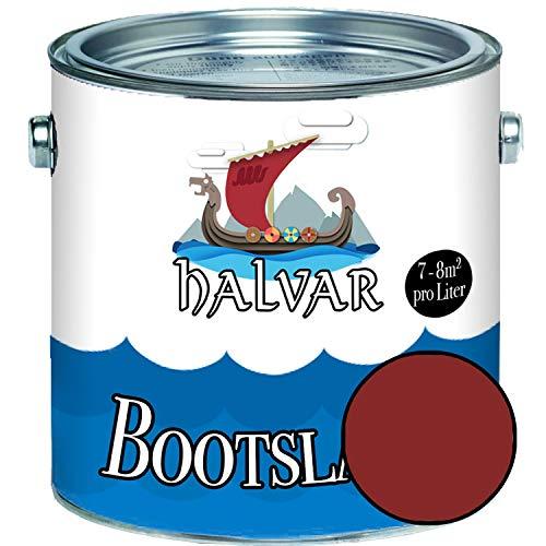 Halvar Bootslack Rot RAL 3000-3031 Yachtlack SEIDENMATT Bootsfarbe PU-verstärkt für Holz & Metall verstärkt extrem belastbar hochelastisch Schiffslackierung (2,5 L, RAL 3011 Braunrot)
