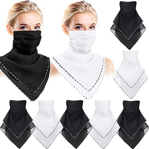 9 Pieces Chiffon Neck Gaiter Earloops Face Bandana Scarf Sun UV Protection Head Wraps for Women (Black, White)