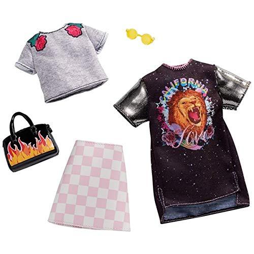 Barbie FXJ59 Checkered Rockband Tee Fashion Pack, Multicoloured