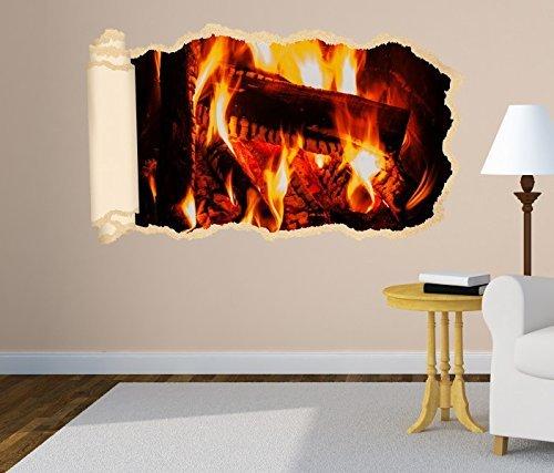 3D Wandtattoo Lagerfeuer Feuer Kamin Holz Tapete Wand Aufkleber Wanddurchbruch Deko Wandbild Wandsticker 11N1228, Wandbild Größe F:ca. 97cmx57cm