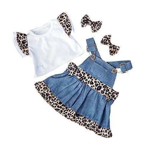 425cd83ab3f Denim   Leopard print top dress   ear bows   teddy bear clothes to fit Build
