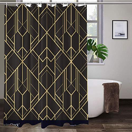 Cortina de ducha de tela con 12 ganchos, diseño abstracto de azulejos art decó impresión, cortina de baño decorativa lavable a máquina, 183 x 183 cm
