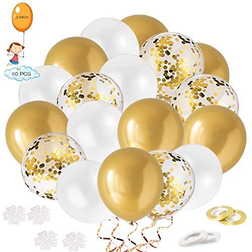 JIALING Palloncini Oro,60 Pezzi 12 Pollici Palloncini Coriandoli Oro/Palloncini d'oro Bianco/4 Nastro/4 Clip.Helium Balloons per Halloween Feste,Baby Shower, Compleanno Matrimonio Party Decorazioni