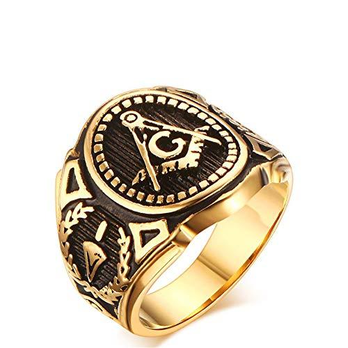 NineJewelry Masonic Freemason Signet Rings for Men Women - Silver Gold Religious Ring Secret Society Compass Finger Rings