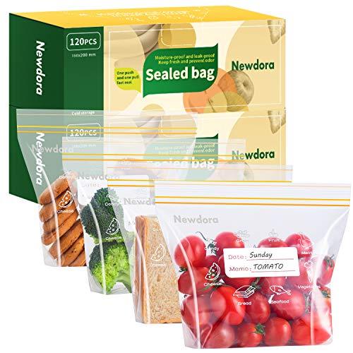 Newdora Sacchetti per Alimenti Richiudibili, Sacchetti Freezer con Nuova Tecnologia Sigillata,Fondo Espandibile,Durevoli,Senza BPA, per Cereali, Biscotti,Prodotti Surgelati e Altro 20 x 18cm,120 PCS