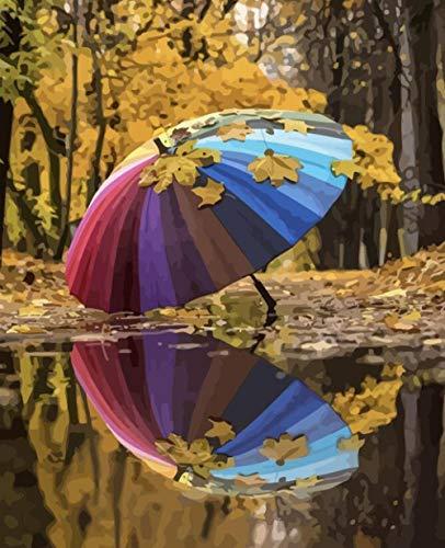HUASUI Malen nach Zahlen Herbst Landschaft Zeichnung auf Leinwand Handgemalte Kunst Geschenk DIY Regenschirm Bild Kits Home Decor 50x65cm Rahmen