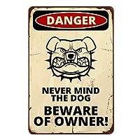 飼い主の危険を警告するブリキの看板、怒っている犬のデザインのコミックポスターに注意してくださいヴィンテージメタルのブリキの看板-20x30cm