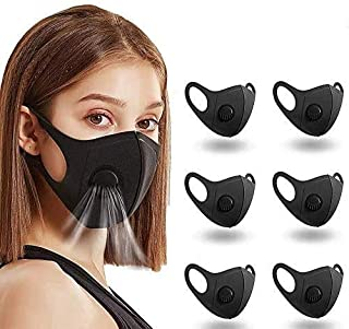 Boolavard 6PCAnti-dust Black Face_mask_Protect Bandana Passamontagna, fodera lavabile moda riutilizzabile unisex