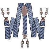 Mens Suspenders Suit Brace Y-back Leather...
