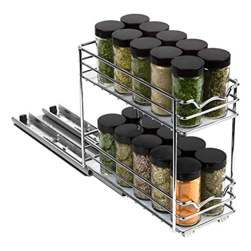 """Pull Out Spice Rack Organizer for Cabinet – Heavy Duty Slide Out Double Rack 4 38W x10-38D x 8-78 H For Upper Kitchen Cabinets and Pantry Closet For Spices Sauces Cans etc 6"""" Between Shelves"""