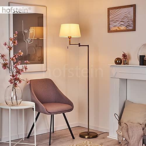 Lámpara de pie Eleshult, 1 bombilla de metal en color bronce, diseño moderno con pantalla de tela en blanco, 1 bombilla E27 máx. 60 W, cabezal ajustable, lámpara de pie con interruptor de cuerda
