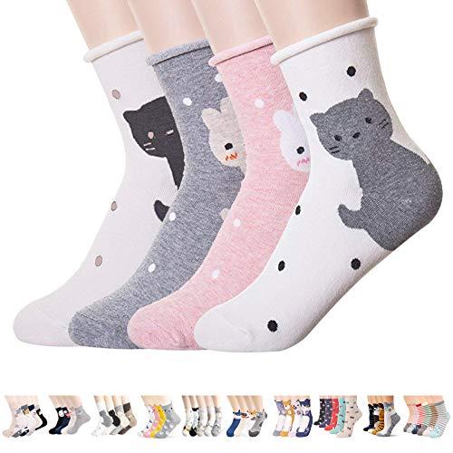 Damen-Socken – niedliche, verrückte Tiere, Katzen, Hunde, Eulen, Kunstmuster, gut als Geschenk - - Einheitsgröße