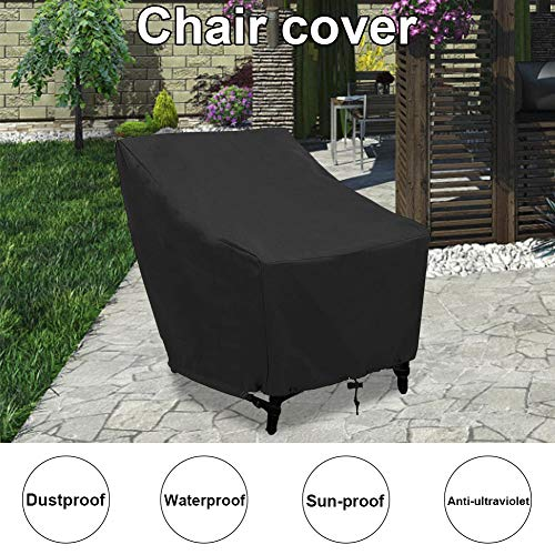 QUUY Patio Stacking Chair Cover with Air Vent, Waterproof Windproof Anti-UV Heavy Duty Rip Proof Oxford Fabric Reclining Garden Chair Cover Table Furniture Protective Cover