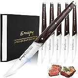 Emojoy Couteaux à Steak, Set Couteau de Tables Lame Lisse Acier Inoxydable 11cm, Lot de 6...