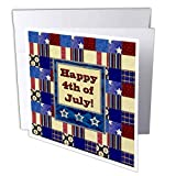 3dRose Image of Patriotic Quilt Design,Happy 4th of July in Star. - Greeting Cards (gc_334483_2)