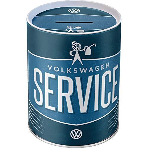 Nostalgic-Art Retro VW Service-Spardose, Geschenk-Idee für Volkswagen-Fans, als Sparschwein aus Metall, Vintage Sparbüchse aus Blech, 1 l