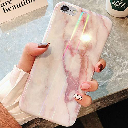 Uposao Kompatibel mit iPhone 6S Plus 5.5 Hülle Silikon Ultra Dünn Handyhülle 3D Marmor Bunt Muster Weich TPU Schutzhülle Etui Kratzfest TPU Bumper Handytasche Rückschale Case Cover,Rosa Weiß