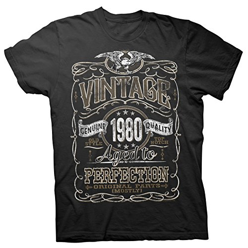 40th Birthday Gift Shirt - Vintage Aged to Perfection 1980 - Black-001-Lg