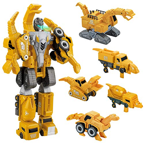 Forty4 Robot Toy, 5-in-1 Transformers Toy for Toddler, Vehicles Toy Set Assembled by Magnetic, Truck/Dinosaur Switch STEM Toys, Gift for 3-6 Years Old and Up
