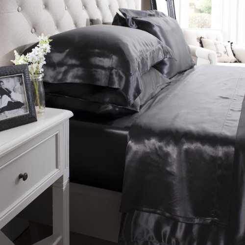 Jasmine Silk 100% mûrier soie 19 mm Charmeuse Drap Plat (Noir) – Simple 180 cm x 275 cm